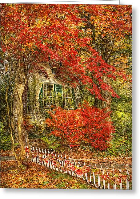 Autumn - House - Festive - Van Gogh Greeting Card by Mike Savad