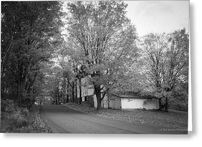 Greeting Card featuring the photograph Autumn In Black And White by Phil Abrams