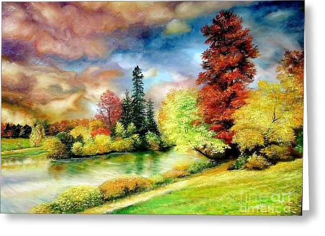 Greeting Card featuring the painting Autumn In Park by Sorin Apostolescu