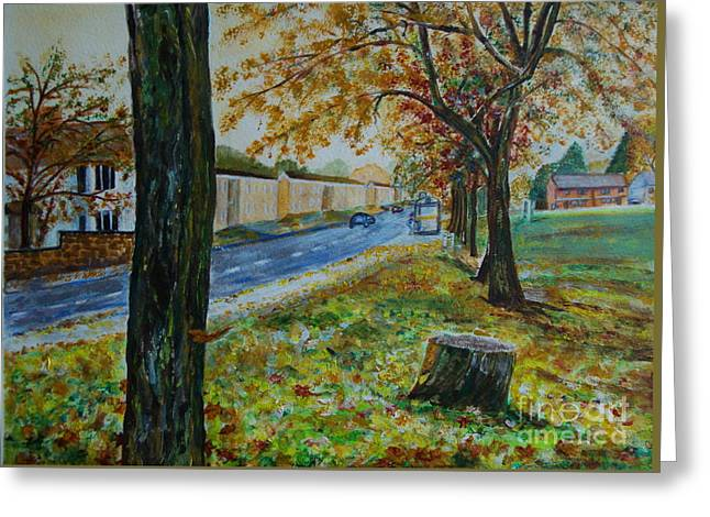 Autumn In South Road - Painting Greeting Card