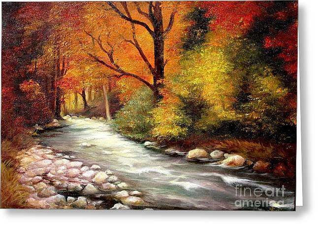Greeting Card featuring the painting Autumn In The Forest by Sorin Apostolescu