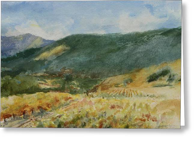 Harvest Time In Napa Valley Greeting Card by Maria Hunt