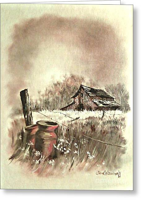 Greeting Card featuring the painting Autumn In View At Mac Gregors Barn by Carol Wisniewski