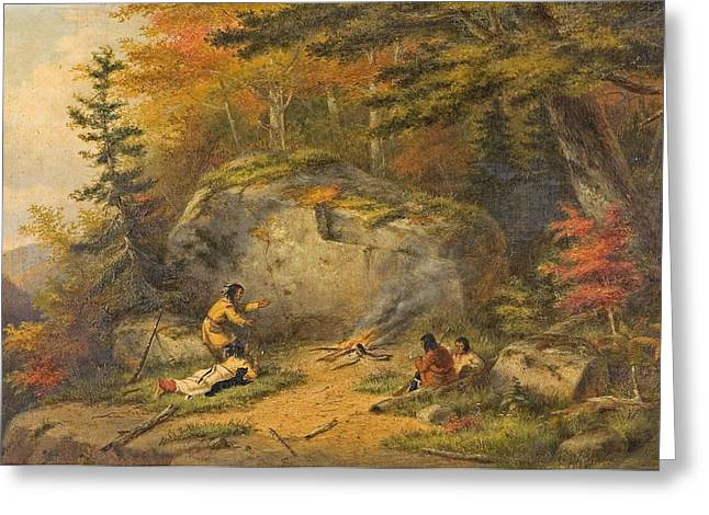 Greeting Card featuring the painting Autumn In West Canada Chippeway Indians by Cornelius Krieghoff