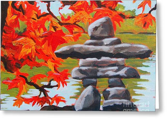 Autumn Inukshuk Greeting Card