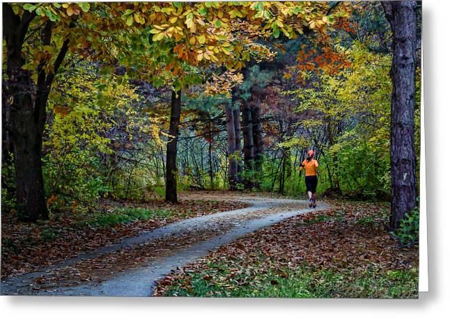 Autumn Jog Greeting Card