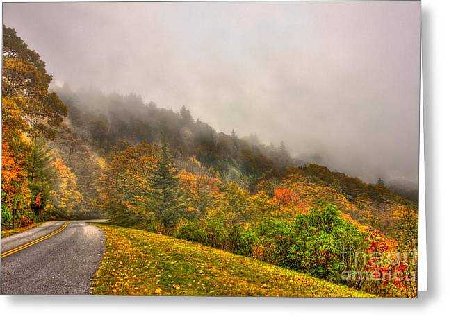 Autumn Just Around The Bend Blue Ridge Parkway In Nc Greeting Card by Reid Callaway