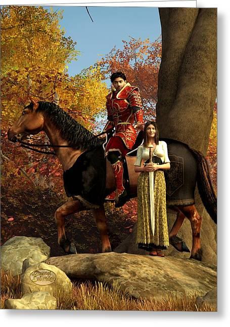 Chivalry Greeting Cards - Autumn Knight Greeting Card by Daniel Eskridge