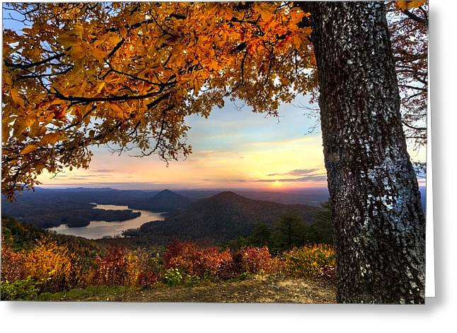 Autumn Lake Greeting Card by Debra and Dave Vanderlaan