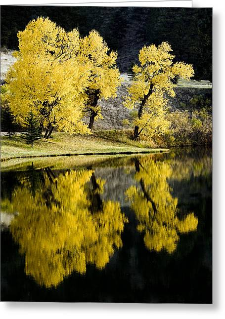 Autumn Lake Reflection Greeting Card by Patrick Derickson