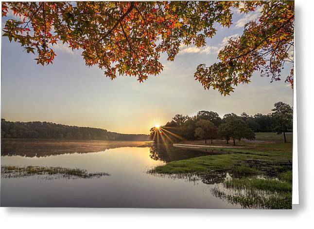 Autumn Lake Sunrise In East Texas Greeting Card