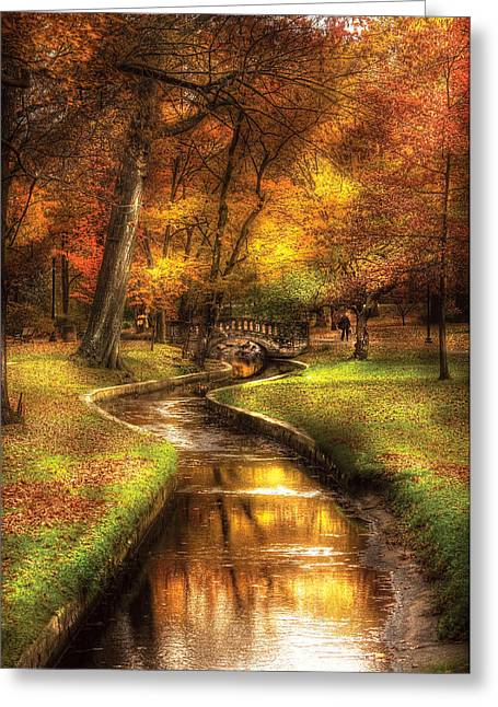 Autumn - Landscape - By A Little Bridge  Greeting Card by Mike Savad