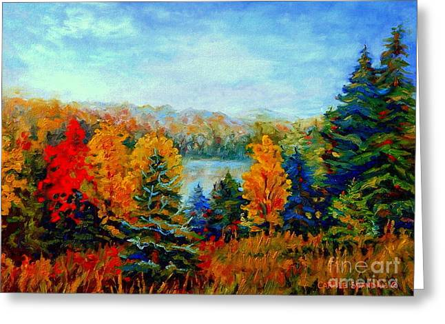 Autumn Landscape Quebec Red Maples And Blue Spruce Trees Greeting Card by Carole Spandau