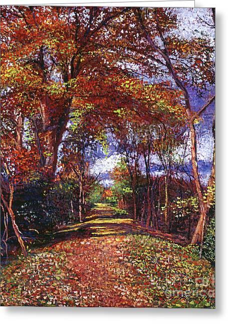 Autumn Leaf Road Greeting Card by David Lloyd Glover