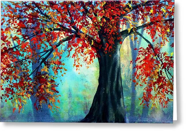 Autumn Leaves Greeting Card by Ann Marie Bone