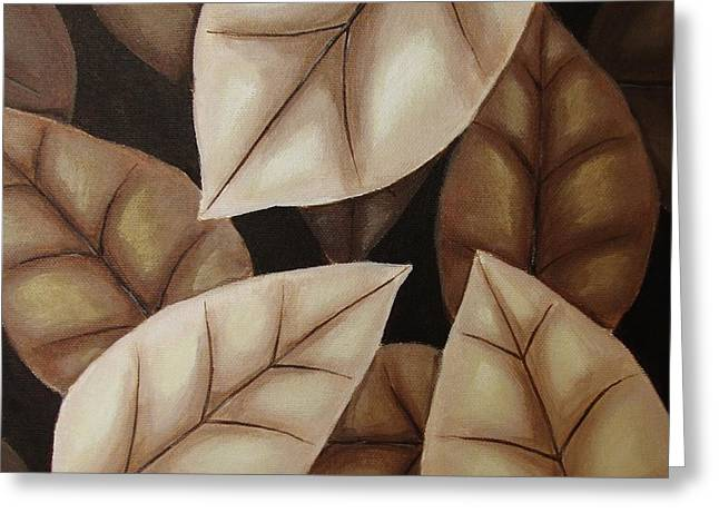 Autumn Leaves In Sepia Greeting Card by Anna Bronwyn Foley