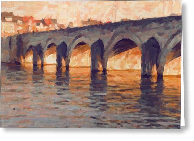 Autumn Light Through The Saint Servaas Bridge Maastricht Greeting Card by Nop Briex
