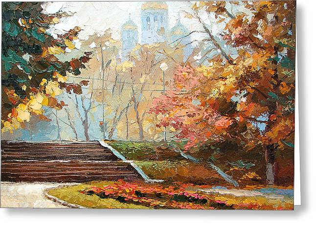 Greeting Card featuring the painting Autumn Midday by Dmitry Spiros