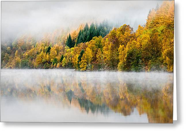 Autumn Mist Greeting Card by Dave Bowman