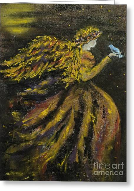 Autumn Moon Angel Greeting Card by Carla Carson
