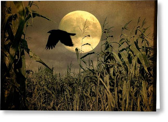 Crow Flies Past The Harvest Moon Greeting Card