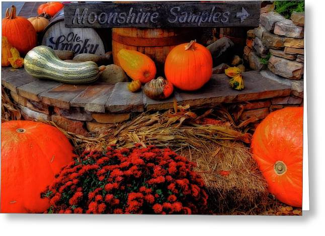 Autumn Moonshine At Old Smoky Distillery Greeting Card by Dan Sproul