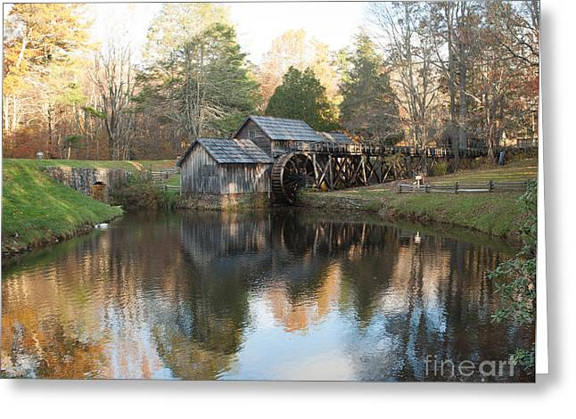 Greeting Card featuring the photograph Autumn Morning At Mabry Mill by Carol Lynn Coronios