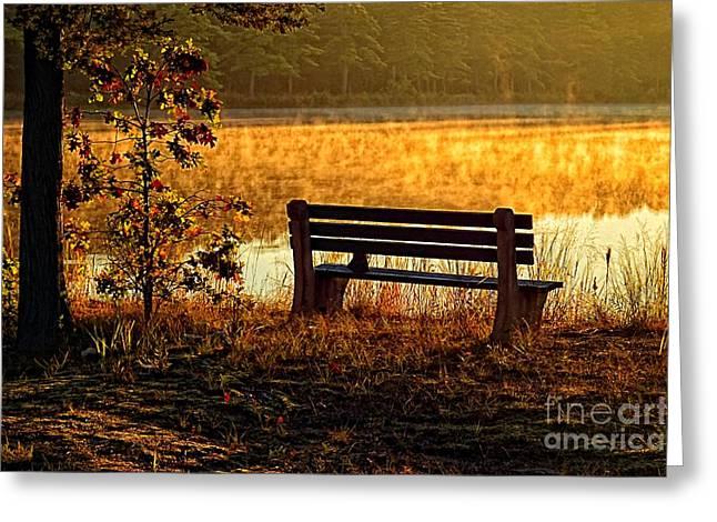 Autumn Morning At The Lake Greeting Card