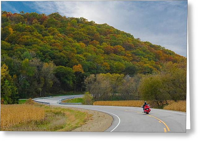 Autumn Motorcycle Rider / Orange Greeting Card