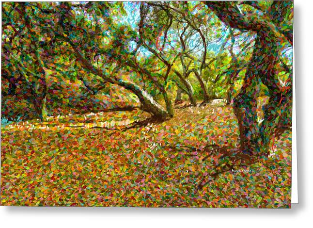 Autumn Oak Forest Greeting Card by Angela A Stanton
