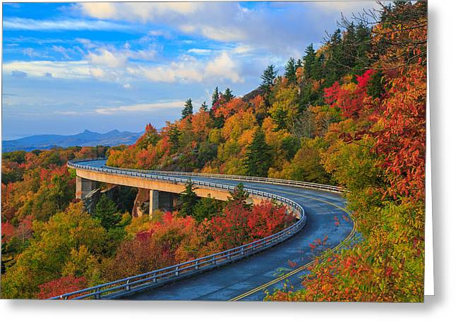 Autumn On Linn Cove Viaduct  Greeting Card by Jared Kay