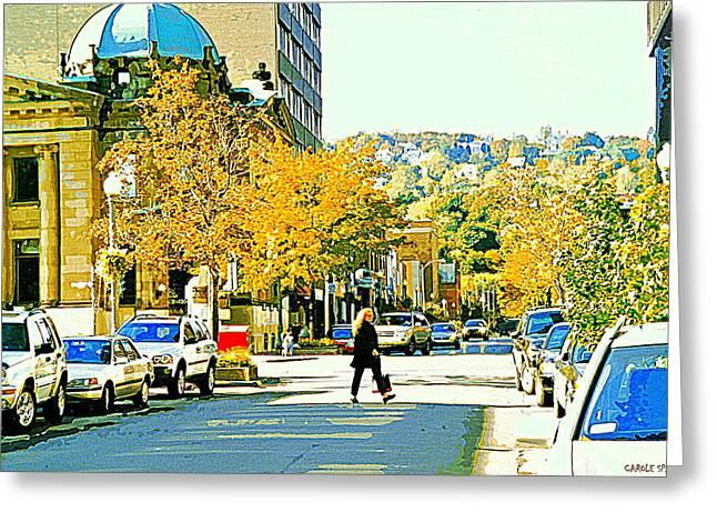 Autumn On Mount Royal Greene Avenue Westmount Near Sherbrooke October Montreal City Scene Greeting Card by Carole Spandau