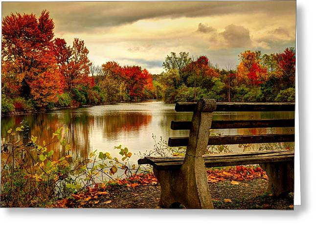 Autumn On The Canal Greeting Card by Janet Lee