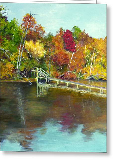 Greeting Card featuring the painting Autumn On The James by Sandra Nardone