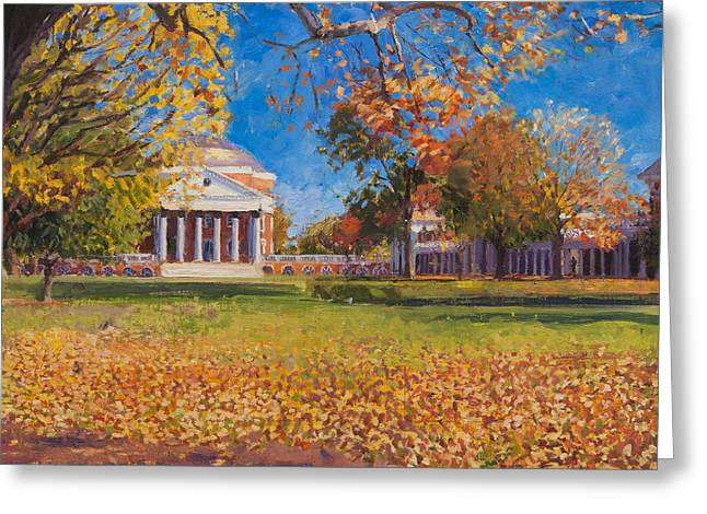 Autumn On The Lawn Greeting Card by Edward Thomas