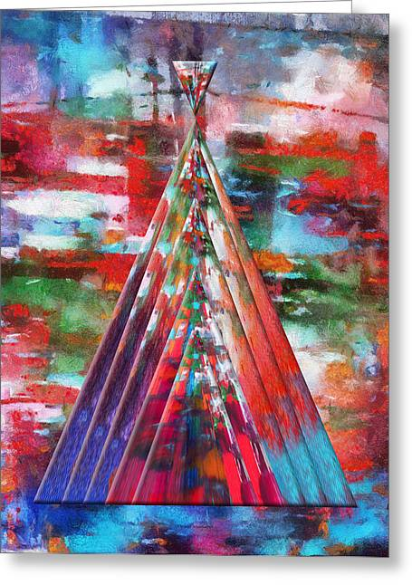 Autumn On The Plains Abstract Tee Pee Greeting Card by Thomas Woolworth