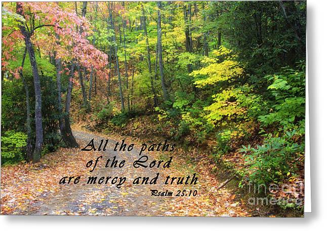 Autumn Path With Scripture Greeting Card