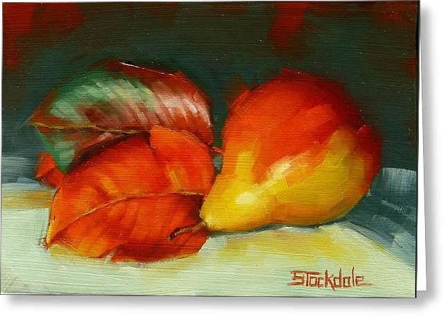 Greeting Card featuring the painting Autumn Pear Leaves And Fruit by Margaret Stockdale