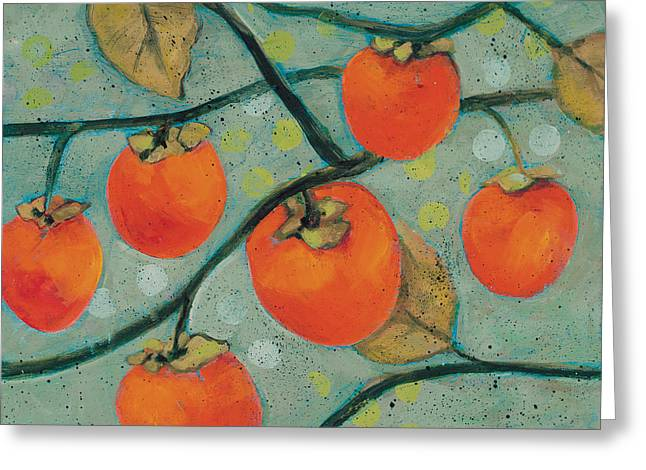 Autumn Persimmons Greeting Card by Jen Norton
