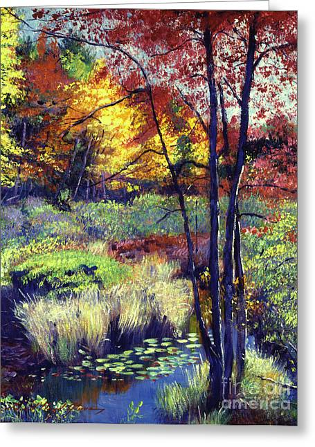 Autumn Pond Greeting Card by David Lloyd Glover