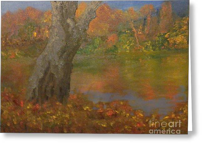 Greeting Card featuring the painting Autumn Pond by Holly Martinson