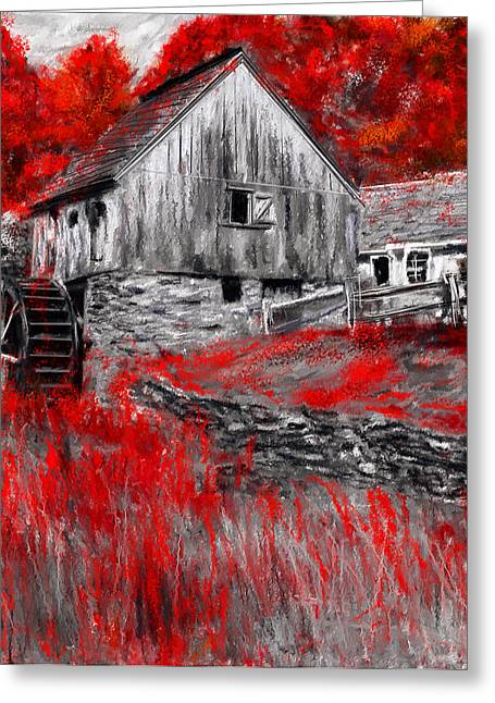Autumn Promise- Red And Gray Art Greeting Card by Lourry Legarde