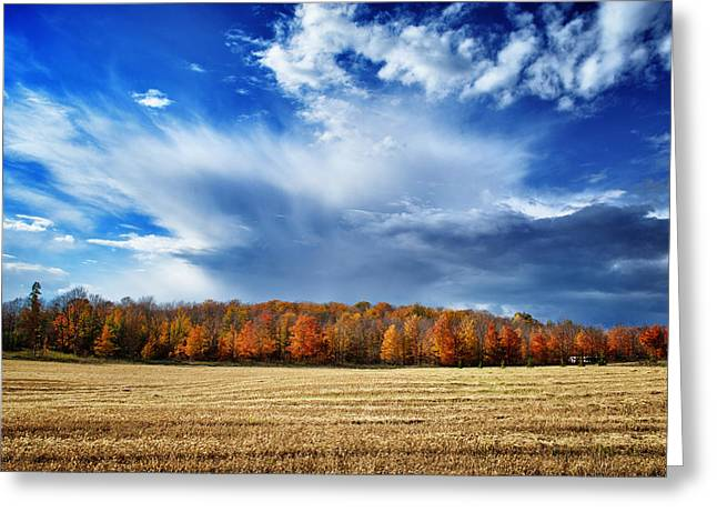 Greeting Card featuring the photograph Autumn Rain Over Door County by Mark David Zahn Photography