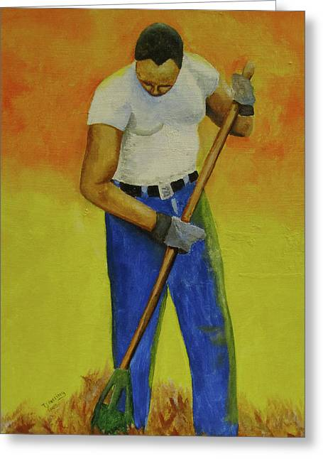 Greeting Card featuring the painting Autumn Raking by Thomas J Herring