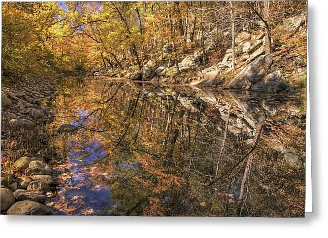 Autumn Reflections On Big Shoal Creek - Arkansas  Greeting Card by Jason Politte