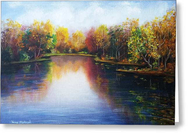 Greeting Card featuring the painting Autumn Reflections  by Vesna Martinjak