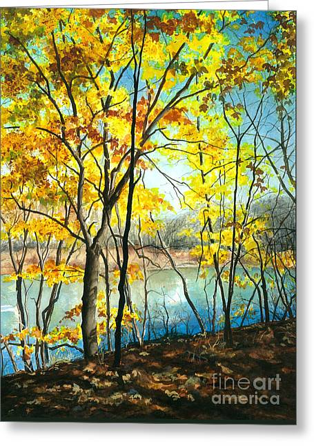 Autumn River Walk Greeting Card by Barbara Jewell