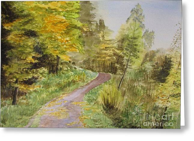 Autumn Riverside Walk Version1 Greeting Card