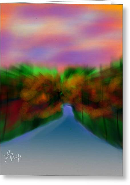 Autumn Road Greeting Card by Frank Bright