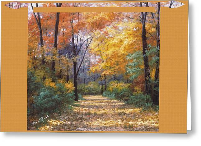 Autumn Road Tapestry Look Greeting Card by Diane Romanello